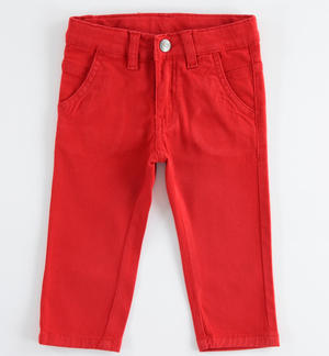Denim fleece trousers RED