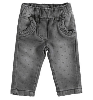 Denim effect fleece trousers with hearts and polka dots