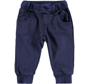 Fleece tracksuit bottoms with a worn look  BLUE