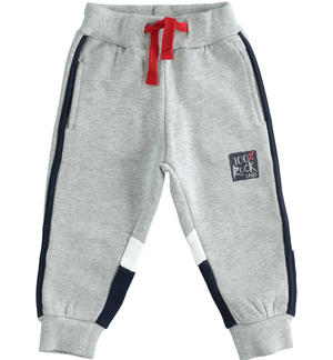 Brushed fleece trousers with color blocks GREY