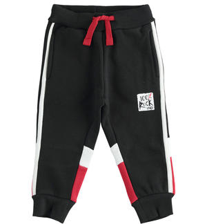 Brushed fleece trousers with color blocks BLACK