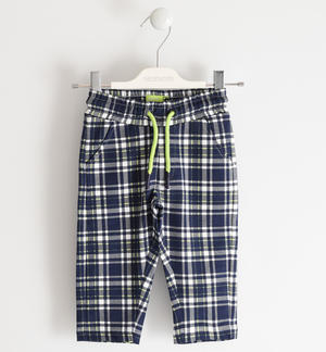 Light fleece checked trousers BLUE