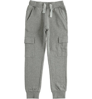 Cargo model fleece trousers with large pockets GREY