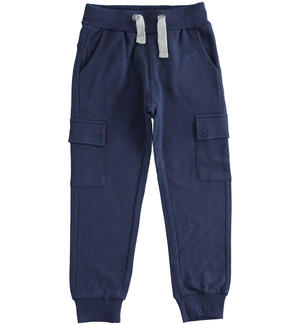 Cargo model fleece trousers with large pockets BLUE
