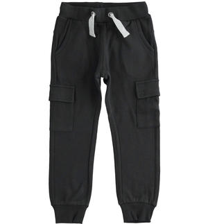 Cargo model fleece trousers with large pockets BLACK
