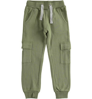 Cargo model fleece trousers with large pockets GREEN