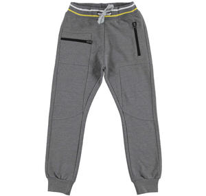 Fleece tracksuit bottoms with a low crotch  GREY