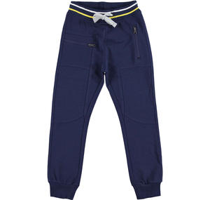 Fleece tracksuit bottoms with a low crotch  BLUE