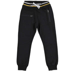 Fleece tracksuit bottoms with a low crotch  BLACK