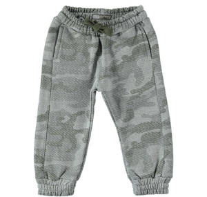 Heavy brushed fleece trousers with a camouflage fabric  GREY