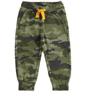 Camouflage print fleece trousers GREY
