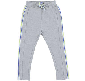 Stretch cotton fleece tracksuit bottoms with striped side bands GREY
