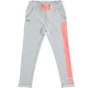 Low crotch tracksuit bottoms in stretch cotton fleece GREY