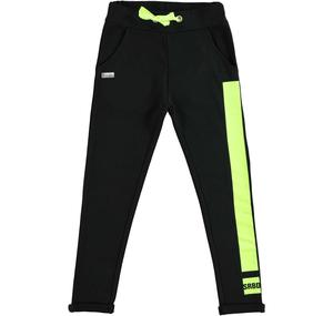 Low crotch tracksuit bottoms in stretch cotton fleece BLACK