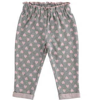 Knitted trousers with hearts pattern