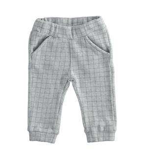 Checked cotton knit trousers