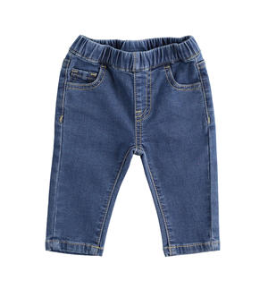 Cotton blend newborn boy trousers with denim effect BLUE