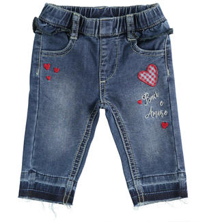 Newborn trousers of soft cotton-blend denim effect fleece BLUE