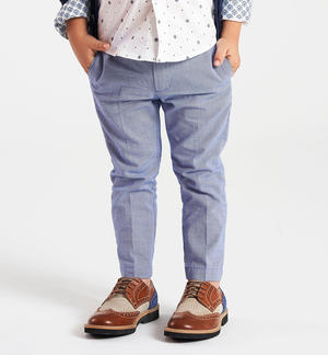 100% cotton warp trousers BLUE
