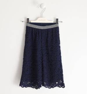 Lace trousers with lurex elastic BLUE