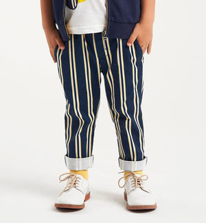 Poplin chino trousers with striped pattern YELLOW