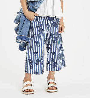 Striped printed poplin trousers