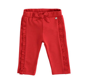 Milan stitch trousers with ruffles RED