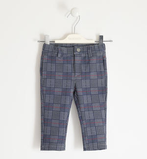 Trousers in Milano stitch prince of wales pattern