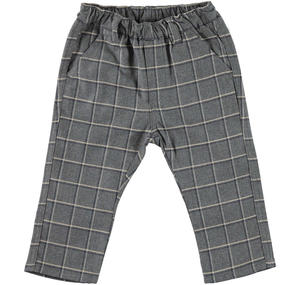 Checked flannel trousers  GREY