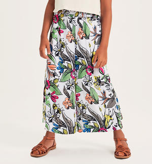 Floral crepe fabric trousers WHITE