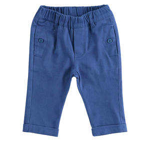 Solid color stretch cotton twill trousers for baby BLUE