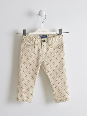 Micro polka dot twill trousers BEIGE