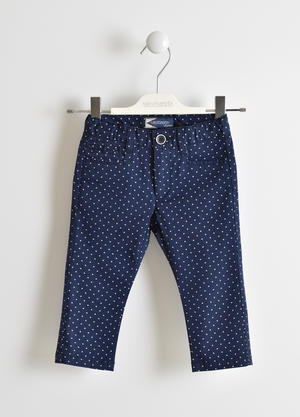 Micro polka dot twill trousers BLUE