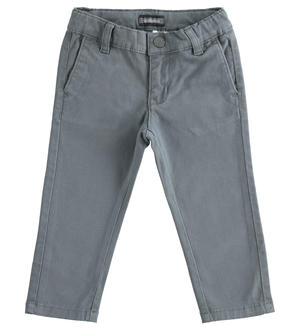 Slim-fit trousers in stretch cotton twill GREY