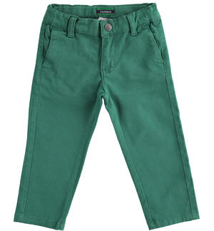 Slim-fit trousers in stretch cotton twill GREEN