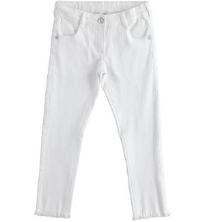 Stretch twill trousers with frayed hem WHITE