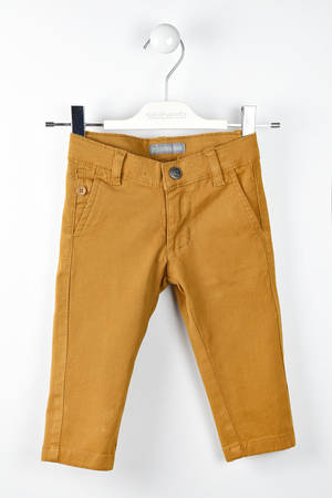 Solid-coloured twill trousers  BROWN
