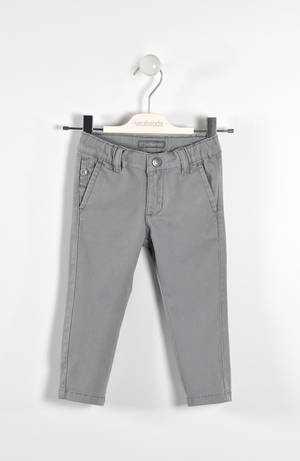 Solid-coloured twill trousers  GREY