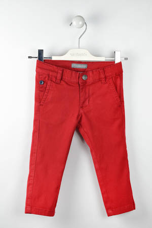 Solid-coloured twill trousers  RED