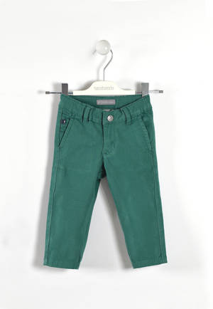 Solid-coloured twill trousers  GREEN