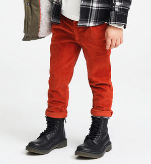 Chino model striped corduroy trousers ORANGE