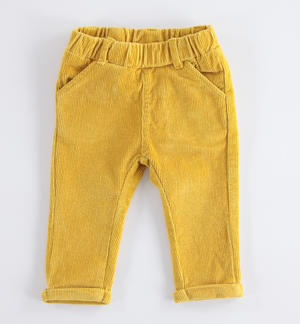 Newborn corduroy trousers solid mustard color YELLOW