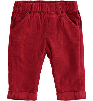 Velvet effect all the elastic trousers RED