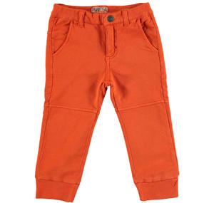 100% light fleece cotton tracksuit bottoms ORANGE
