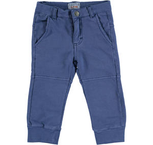 100% light fleece cotton tracksuit bottoms BLUE