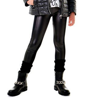 Biker-style leggings with faux leather finishing for girls BLACK