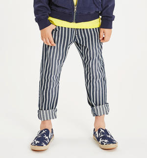 Striped patterned cotton trousers with sunbed-like stripe pattern BLUE