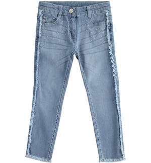 Long denim trousers with rhinestones BLUE