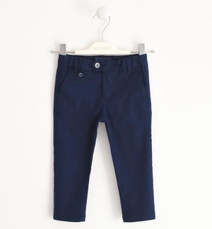 Long trousers in linen and stretch cotton