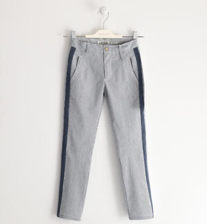 Long seersucker trousers with key ring